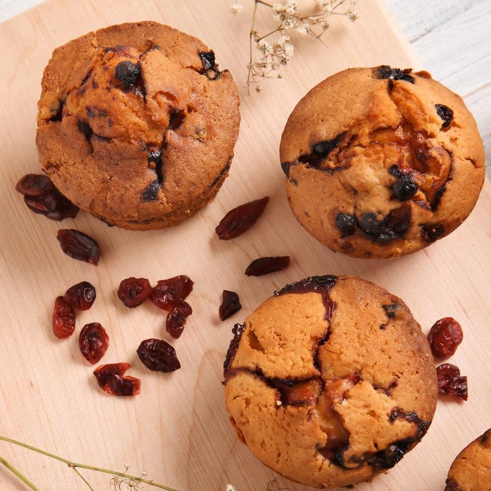 Muffins de canneberge de pomme
