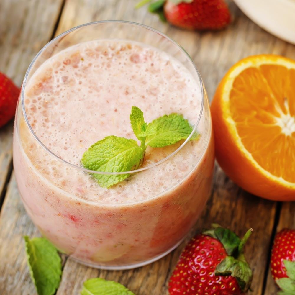 Smoothie orange fraise