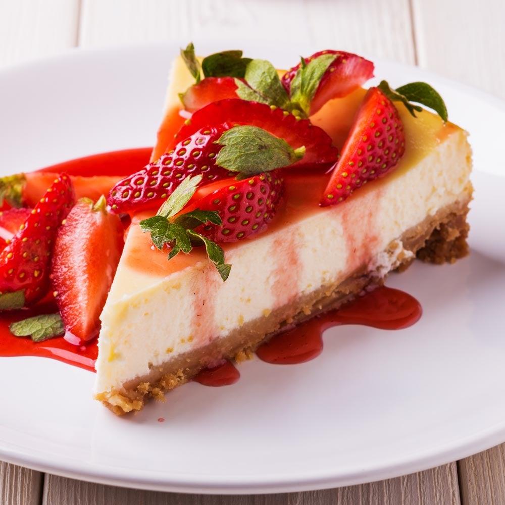 Cheesecake garni de fraises